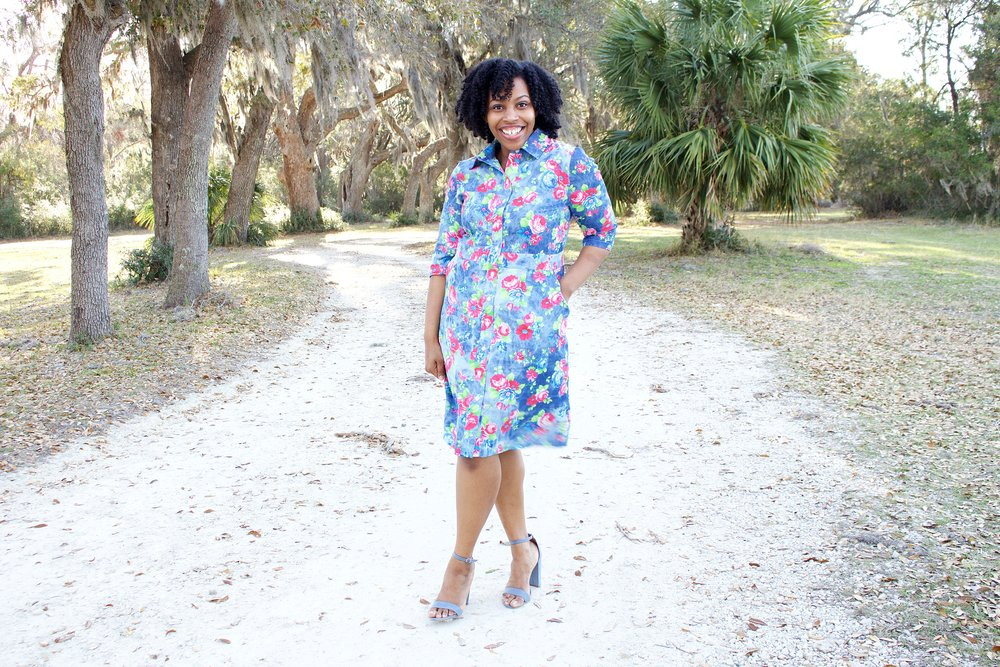 Floral Denim Shirtdress