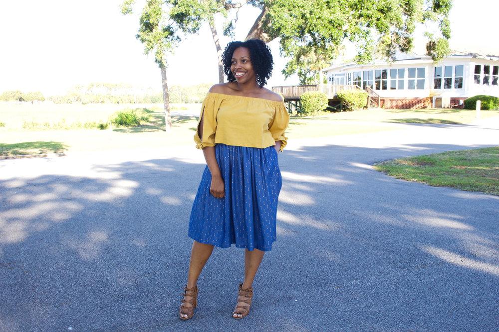 Gold Arrow Denim Skirt
