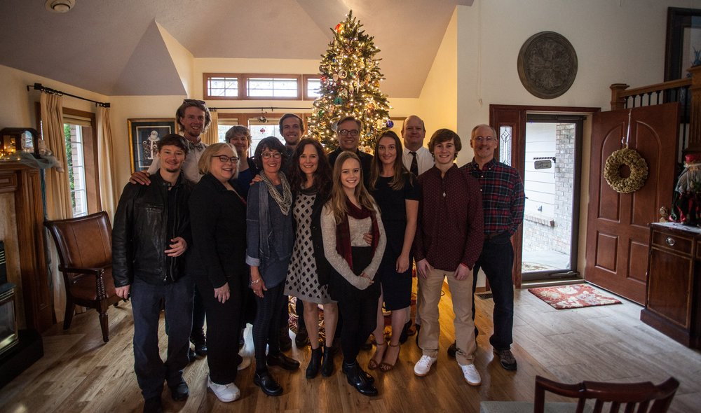 Family Photo in Spokane. Dec 2016.  Left to Right: Trevor Hebbel, Anders Fraser Carlson, Diana Heber, Mandy Fraser, Lorrie Fraser Carlson, Jared Carlson, Diane Fraser, Kira Hebbel, Ed Fraser, Thea Fraser, Matt Fraser, David Michael Vicknair, David Vicknair.