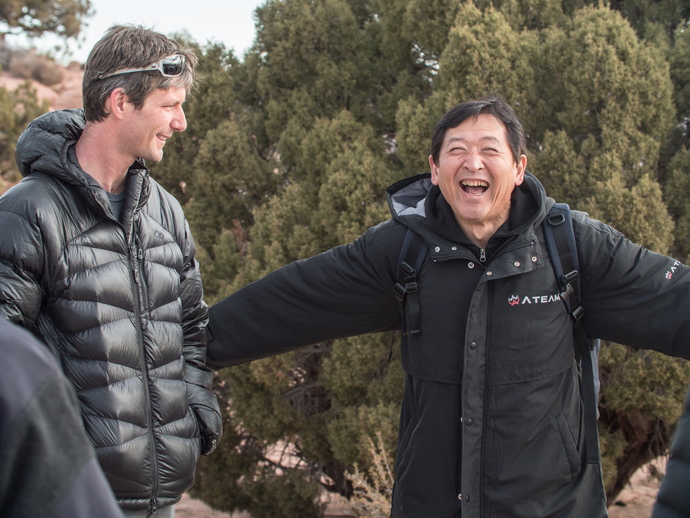 Pat Walker and Yasuhiro Kubo aka Yazu.  Moab, Utah. December 2017.