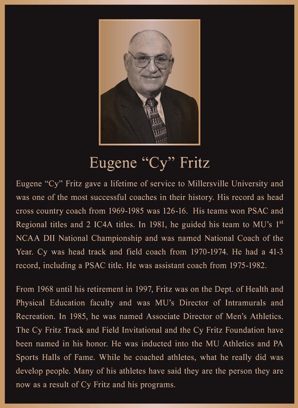 The permanent bronze plaque that honors Cy Fritz.  Click on the plaque to enlarge it.