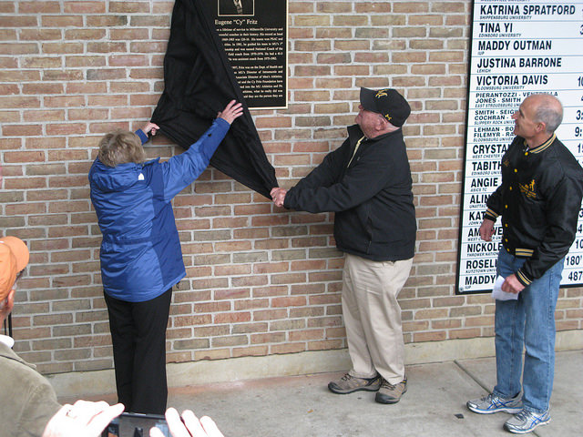 Mary and Cy Fritz unveil the plaque for the first time