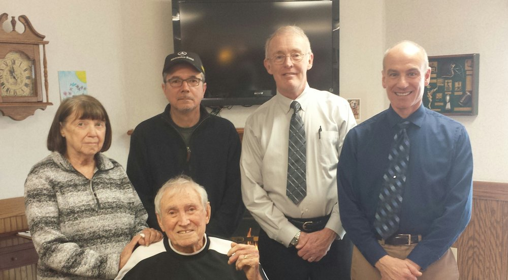 Seated: Larry Warshawsky  Standing (left to right): Nancy Warshawsky, Dave Warshawsky, Tom Ecker (interviewer), Bob Vasile (interviewer)