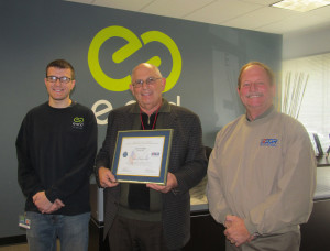 Pictured left to right are Spc. Zachary Strausbough, Steve Chafitz (President, e-End), and Ron Pitts (Western Region Chair, ESGR)