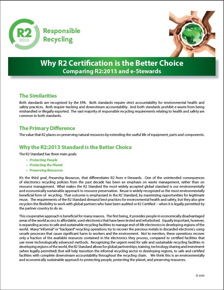 Why R2 Certification is the Better Choice ?