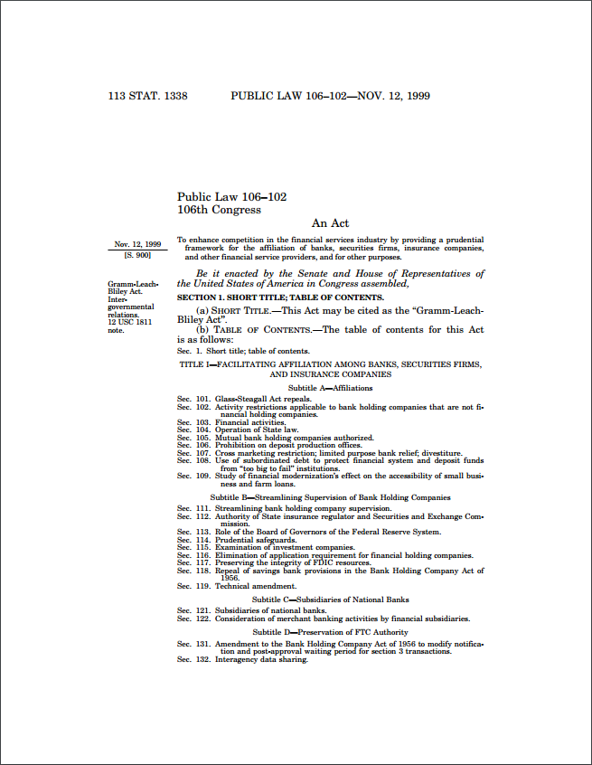 Click on the picture above to download the complete Gramm-Leach-Bliley Act document.