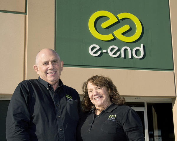 Arleen Chafitz is owner and CEO of e-end company and her husband, Steve, is president. E-End recently moved into the new building at 7118 Geoffrey Way in Frederick, which was outfitted to meet its strict security demands. The company specializes in destruction of information and equipment, and is certified to work with the Department of Defense, Secret Service, Homeland Security, and other agencies, embassies and government contractors. 