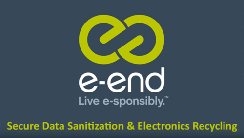 "e-End Logo. ""e-End Live e-sponsibly.™"" Secure Data Sanitization & Electronics Recycling."