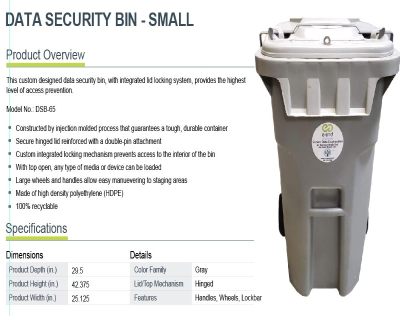 Data Security Bin - Small - This custom designed data security bin, with integrated lid locking system, provides the highest level of access prevention.