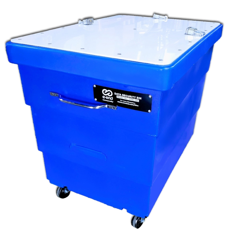 Data Security Bin - Large - This custom designed data security bin with PVC reinforced lid and lock-hasp locking system, provides the highest level of access prevention.