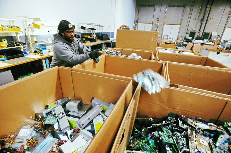 e-End asset disposal of IT equipment at their R2 Certified Electronics Recycling Center.
