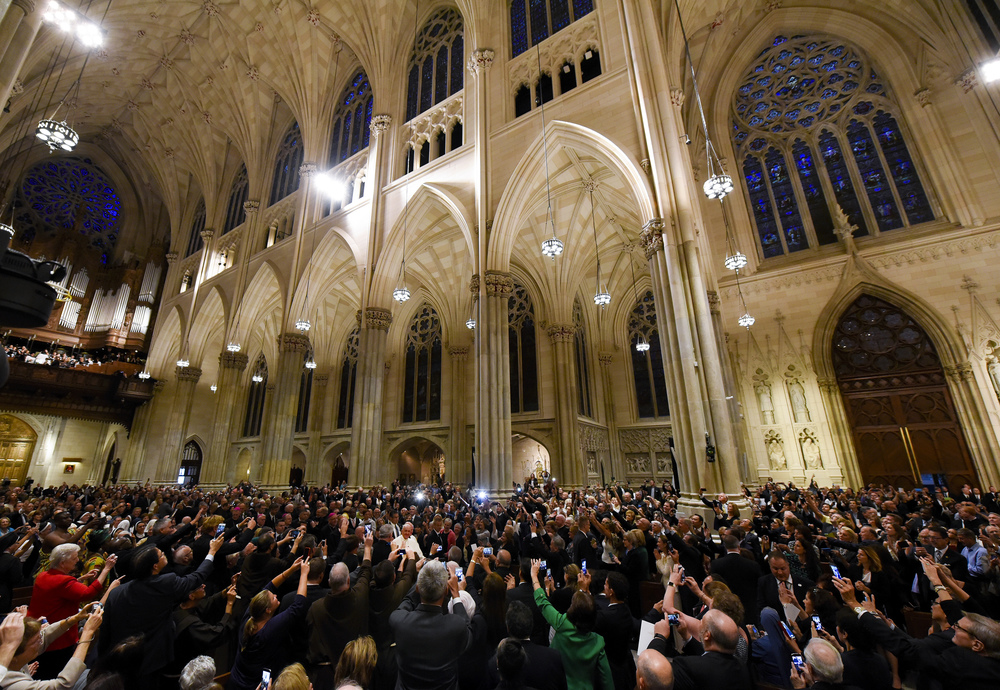Pope Francis enters for The Evening Prayer (Vespers) at St. Patrick's Cathedral in New York, September 24, 2015. Pope Francis is on a five-day trip to the USA, which includes stops in Washington DC, New York and Philadelphia, after a three-day stay in Cuba.