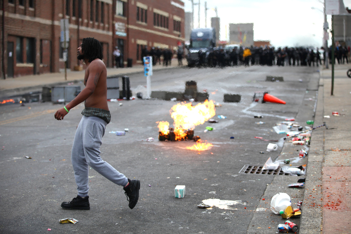 April 27,  2015 - Baltimore, MD: Riots break out in Baltimore after the funeral for Freddie Gray, who died in Baltimore police custody.
