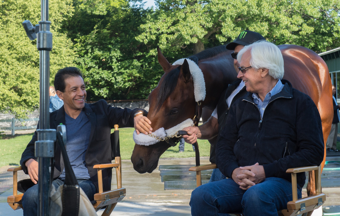 Jockey Victor Espinoza and trainer Bob Baffert with 2015 Belmont Stakes and Triple Crown winner American Pharoah appear live on NBC's Today Show from Belmont Park, Sunday June 7, 2015.