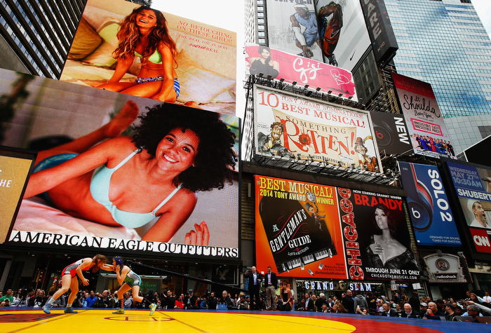 Wrestling in Times Square