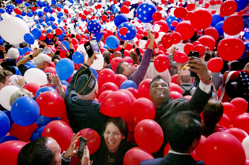 People play in the balloons at the end of the convention. The 2016 Democratic National Convention in Philadelphia.  Thursday July 28, 2016. Philadelphia, PA, USA  