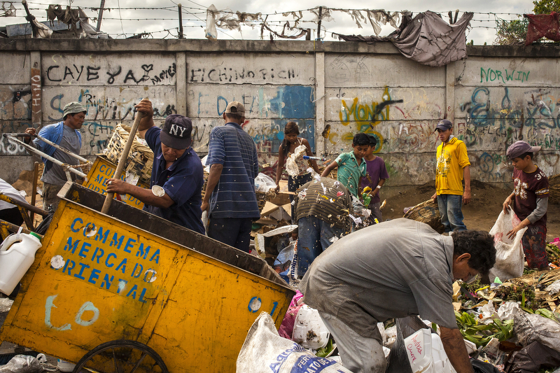 Jan. 18, 2016 - Managua, Nicaragua: Visitors to a dump outside the Oriental Market in Managua sift through garbage searching for food or items of value, Jan. 18, 2016. Nicaragua, the second poorest country in the Western Hemisphere after Haiti, has been hard hit by climate change, drought and years of political unrest.