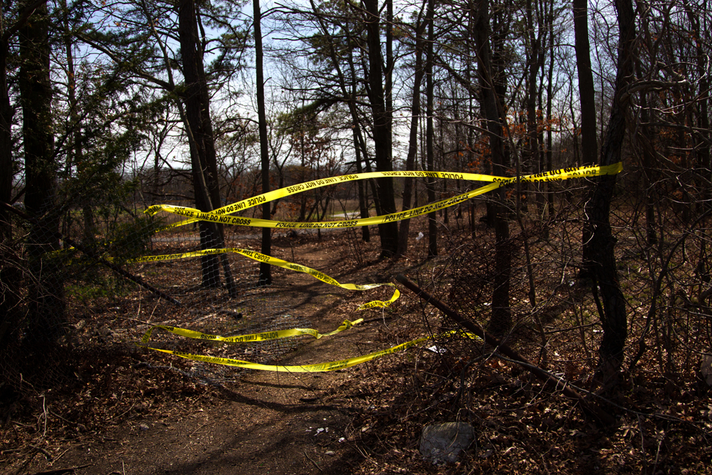 Police taped off a wooded area where the bodies of four men, apparent homicide victims, were discovered in Central Islip .  April 13, 2017