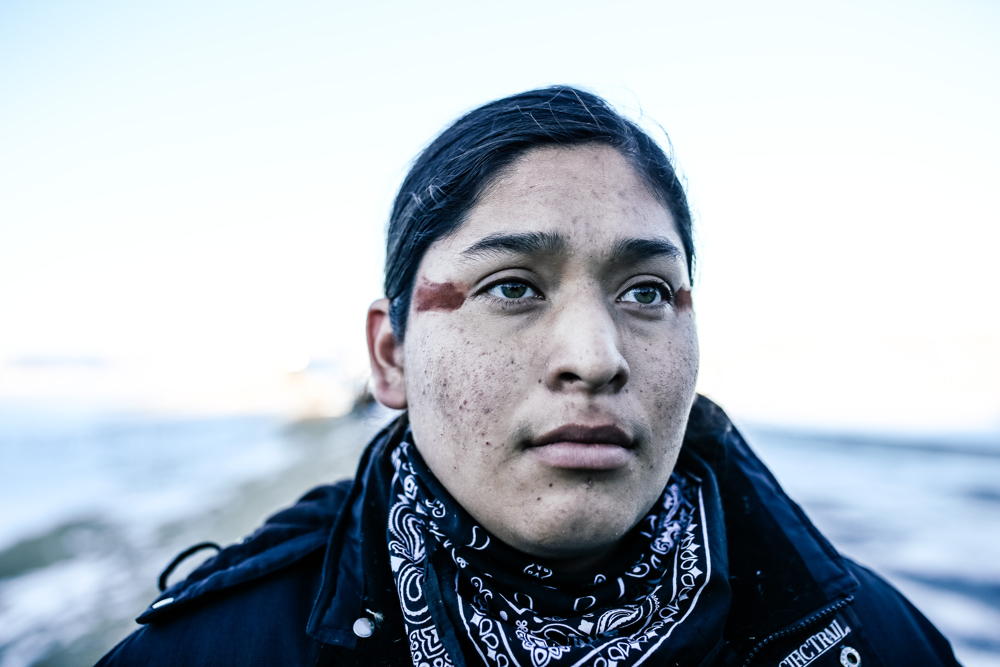 December 5, 2016: Cannonball, ND - Nicholas Cortez, 18, of the Pyramid Lake Paitue Tribe at the Oceti Sakowin camp. Hundreds gathered to form a protest camp named Oceti Sakowin, led by the Standing Rock Sioux tribe to protest the Dakota Access Pipeline.