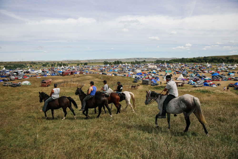 September 15, 2016: Cannonball, ND - A volunteer security group surveys Oceti Sakowin. Hundreds gathered to form a protest camp named Oceti Sakowin, led by the Standing Rock Sioux tribe to protest the Dakota Access Pipeline.