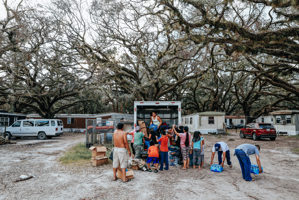 September 25, 2017: Immokalee, FL - Supplies are distributed by a volunteer church group. The town of Immokalee, home to migrant farm workers and immigrants from Haiti and Latin America, was one of the hardest hit by the category 5 storm.