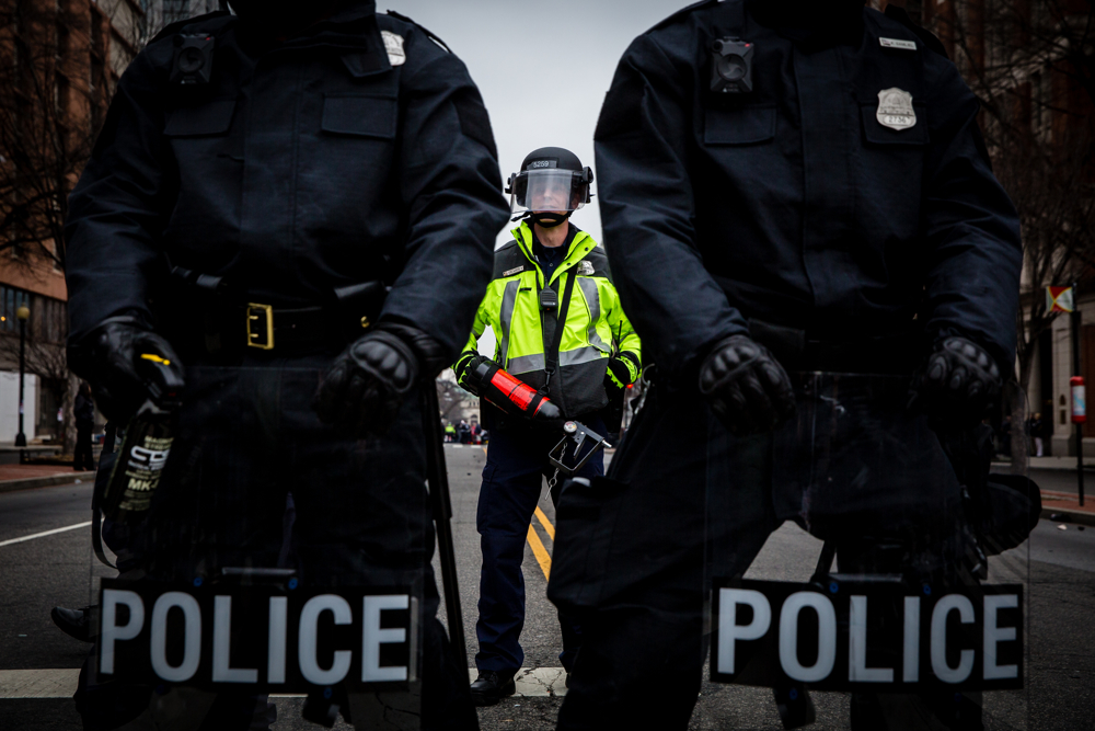 Riot police hold the line during the mayhem on Inauguration Day near Franklin Square on January 20, 2017 in Washington DC, USA.