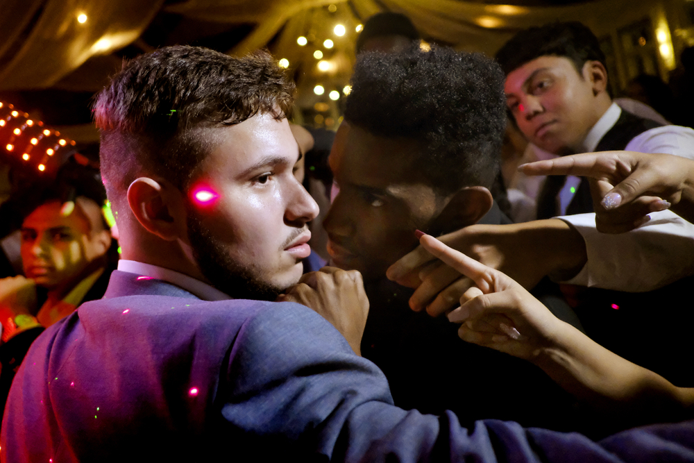 All Eyes On Him - Students dance during the prom with all eyes on one classmate during Newark's Technology High School's 2017 prom at the Liberty House with students dancing to music of DJ Musicaunion. Wednesday May 24, 2017. Jersey City, NJ, USA