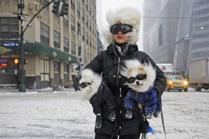 Chong Cha is seen on 11th Avenue with her Pomeranians, Zuzu, left, and Zunky, right, during a snowstorm, Manhattan, Thursday, Jan. 4, 2018. New York City is expected to get between 6 and 10 inches of snow, with parts of Queens and Brooklyn likely getting more than Manhattan, the Bronx and Staten Island, the National Weather Service said.