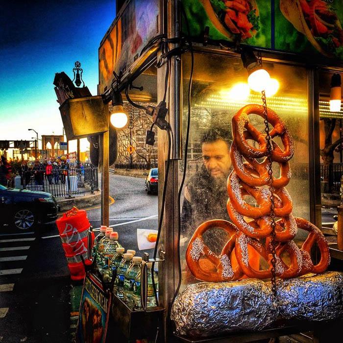 A pretzel vendor near the Brooklyn Bridge