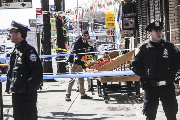 The NYPD investigates the scene the day after a shooting of Saheed Vassell on the corner of Utica Avenue and Montgomery Street in Brooklyn on Thursday, March 30, 2018. Vassell was a mentally disturbed individual beloved by the community and was killed when an officer opened fire when he looked as if he had a firearm but turned out to be a piece of metal.Credit: Byron Smith New York Daily News