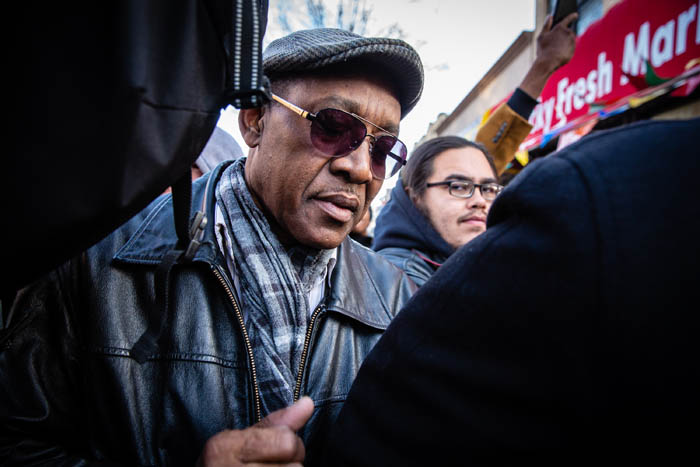 The father of Saheed Vassell, Eric Vassell makes his way through a protest held on at the corner of Utica Avenue and Montgomery Street in Crown Heights on April 5, 2018 in New York City, USA.  