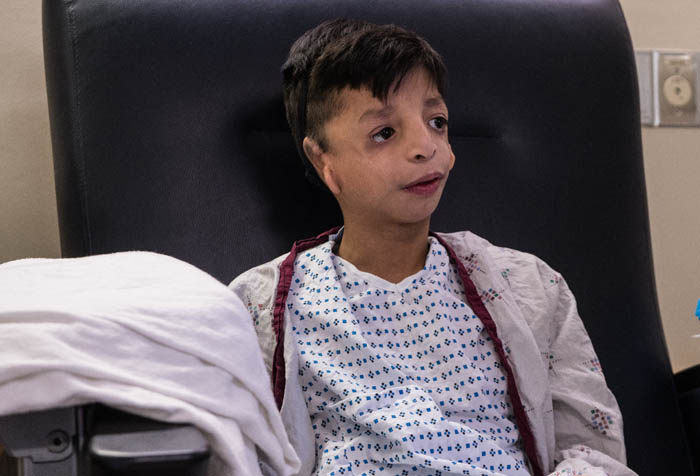 Jared Galicia, a 12-year old boy from NJ, was born with Treacher Collins syndrome, a debilitating facial disfigurement which left him without ears. He received the free life-changing reconstructive surgery, in which Dr. Thomas Romo created new ears, through the Little Baby Face Foundation.  Jan. 13, 2018.New York Manhattan 100 E 77 St Lenox Hill Hospital.