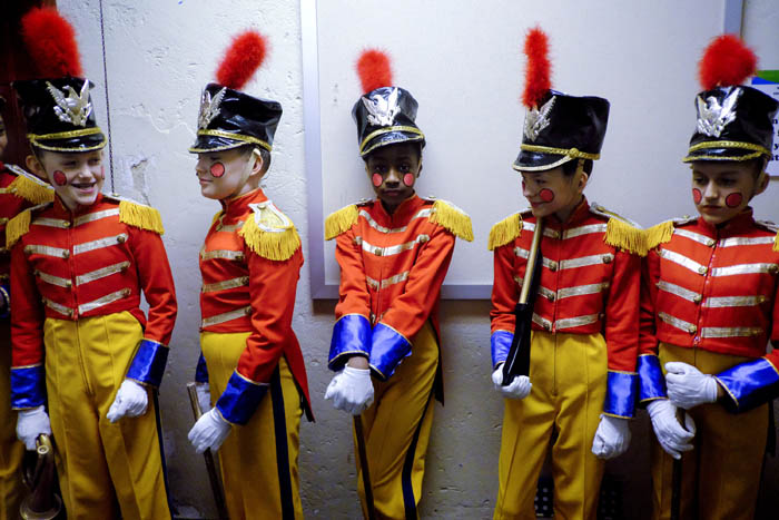 Backstage some of the members of Soldiers wait for their performance in The Battle scene. Sunday December, 2, 2018. Rahway, N.J., USA