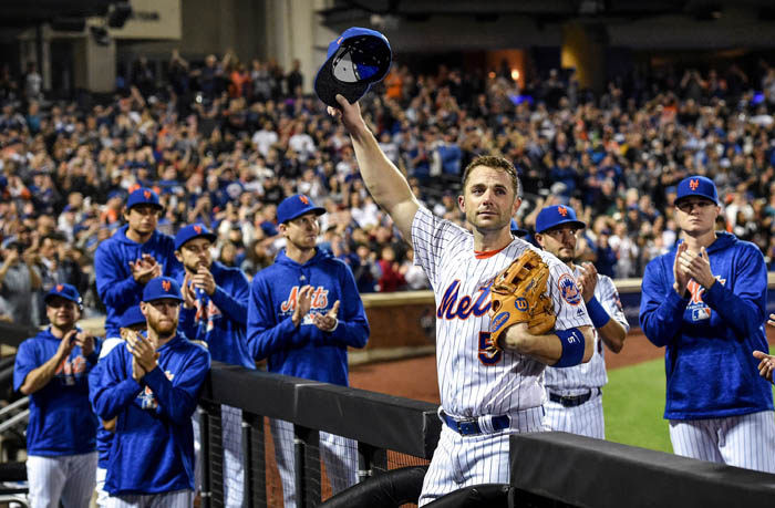 In an emotional farewell, New York Mets Captain David Wright salutes the fans as he leaves the field for the very last time as a player. Wright came out of the game against the Marlins in the 5th inning, closing out a storied Mets career at Citi Field on the evening of Saturday, Sept. 29, 2018.