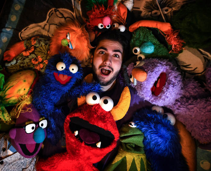 Portrait of Sebastiano Ricci with his collection of Puppets in the bedroom of his Franklin Square home. Sebastiano, who has wanted to be a puppeteer since he was very young , is now Majoring in Puppetry at Adelphi University through a special program they offer allowing students to create their own major. March 5, 2018.