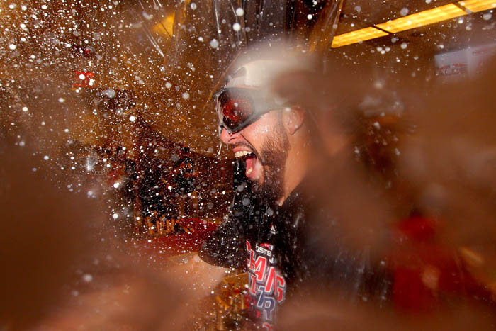 Oct 9, 2018; Bronx, NY, USA; Boston Red Sox relief pitcher Matt Barnes celebrates after defeating the New York Yankees in game four of the 2018 ALDS at Yankee Stadium.