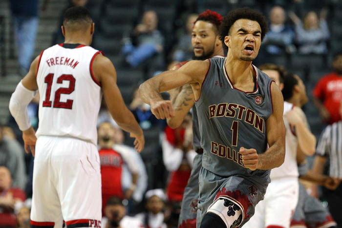 Fifteen teams competed in the 2018 Atlantic Coast Conference Tournament from Tuesday, March 6 through Saturday, March 10 at the Barclays Center in Brooklyn, NY. Boston College Eagles guard Jerome Robinson (1) reacts during the second half of a second round game against the NC State Wolfpack.