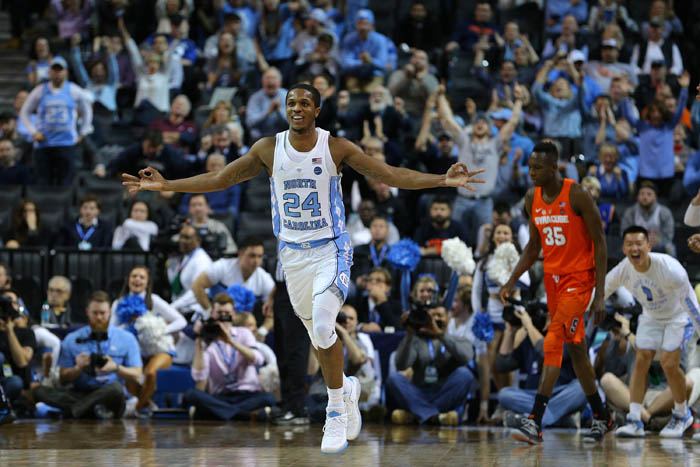 Fifteen teams competed in the 2018 Atlantic Coast Conference Tournament from Tuesday, March 6 through Saturday, March 10 at the Barclays Center in Brooklyn, NY. North Carolina Tar Heels guard Kenny Williams (24) reacts after a three point shot against the Syracuse Orange during the second half of a second round game.