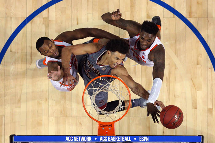 Fifteen teams competed in the 2018 Atlantic Coast Conference Tournament from Tuesday, March 6 through Saturday, March 10 at the Barclays Center in Brooklyn, NY. Boston College Eagles guard Jerome Robinson (1) fights for a rebound against Clemson Tigers forwards Aamir Simms (25) and Elijah Thomas (14) during the second half of a quarterfinal game.