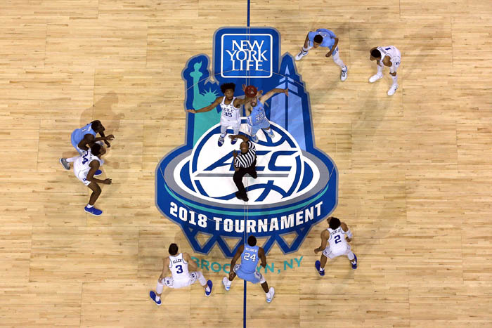 Fifteen teams competed in the 2018 Atlantic Coast Conference Tournament from Tuesday, March 6 through Saturday, March 10 at the Barclays Center in Brooklyn, NY. Duke Blue Devils forward Marvin Bagley III (35) and North Carolina Tar Heels forward Luke Maye (32) take the opening tip off during the first half of a semifinal game.