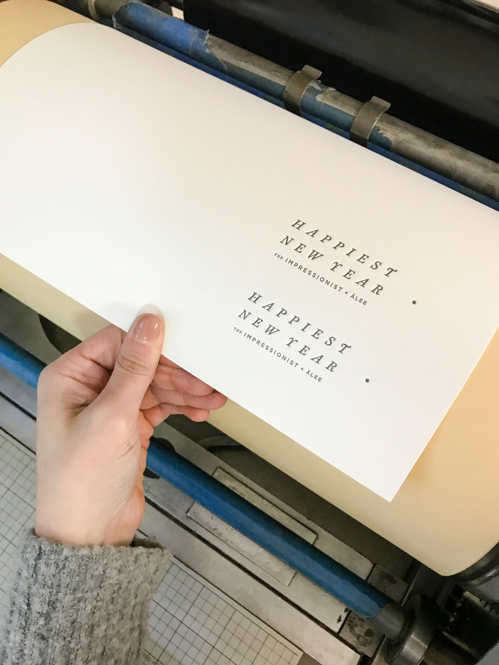 Vandercook letterpress printer with polymer plate. Holiday Card printing.