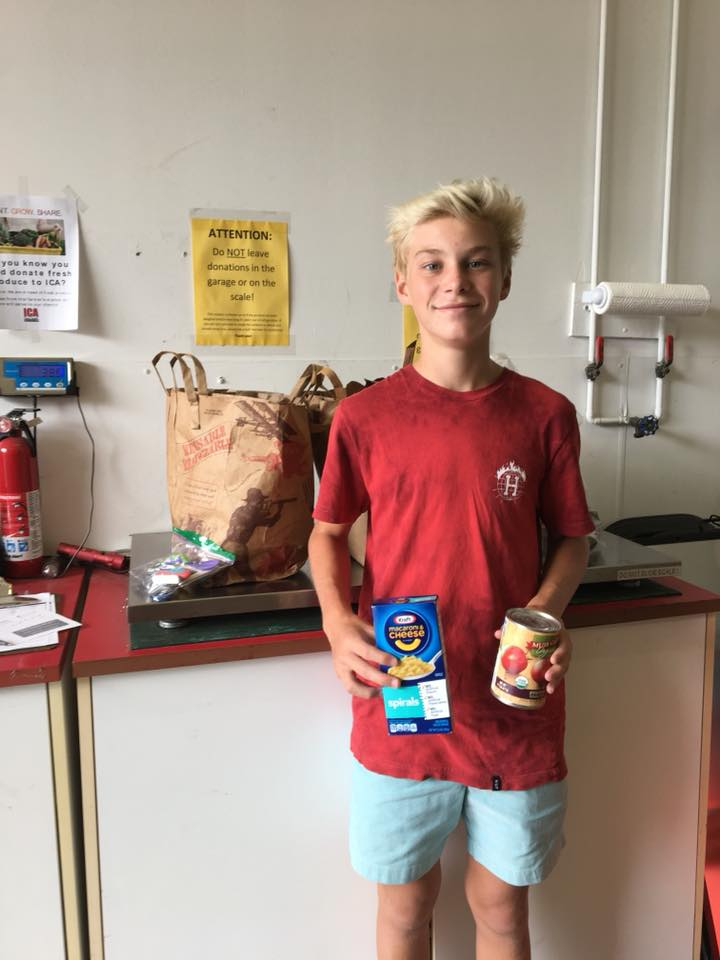 Tyler Stewart collected 41 pounds of food and $96 in donations for ICA for a school project in May, 2018. Thank you Tyler!