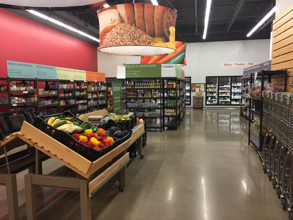 Fresh produce moved to the front of the food shelf.
