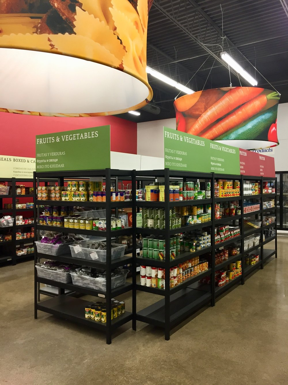 New shelves with wider aisles.