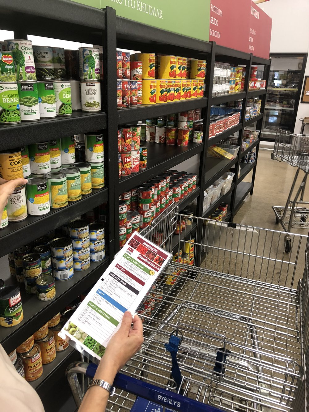 Clients shop with a grocery list.
