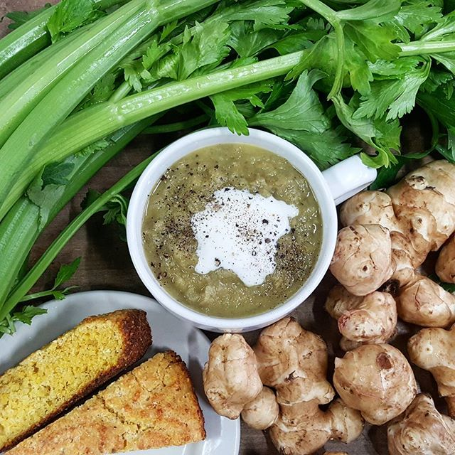 We've got the perfect cure for those snowy blues. Celery and sunchoke soup with skillet cornbread. We've got the recipes and the parts for you here @reynoldsgrocery. #seasonseatings #kyproud