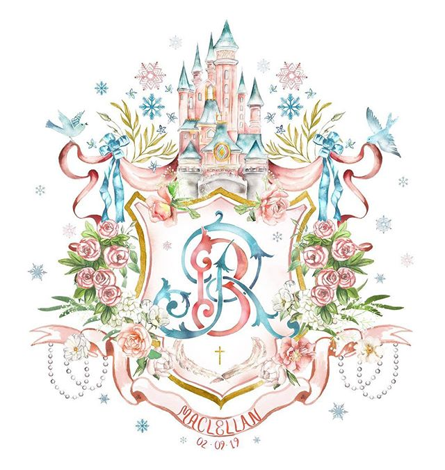 Who's ready to run away and be a princess for life? 💕 . . . . #sopretty #fairytale #inspiration #princess #flashesofdelight #persuepretty #love #livebeautifully #florals #weddinglove #beautiful #weddingcrest #wedding #bespoke #handpainted #watercolor #watercolour #crest #customwedding #customcrest #monogram #floral #customillustration #heraldry #blooms #initials #weddingideas #bespokewedding #sodarling #watercolorcrest
