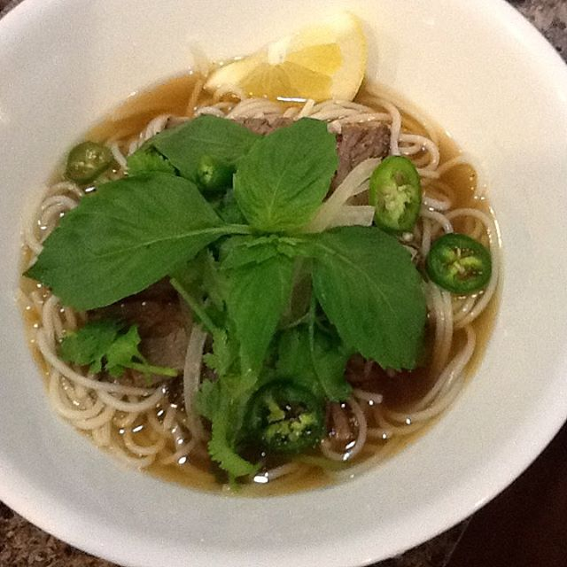 "Smoked brisket noodle soup, ""pho"" style.. #noshborough #astoria"