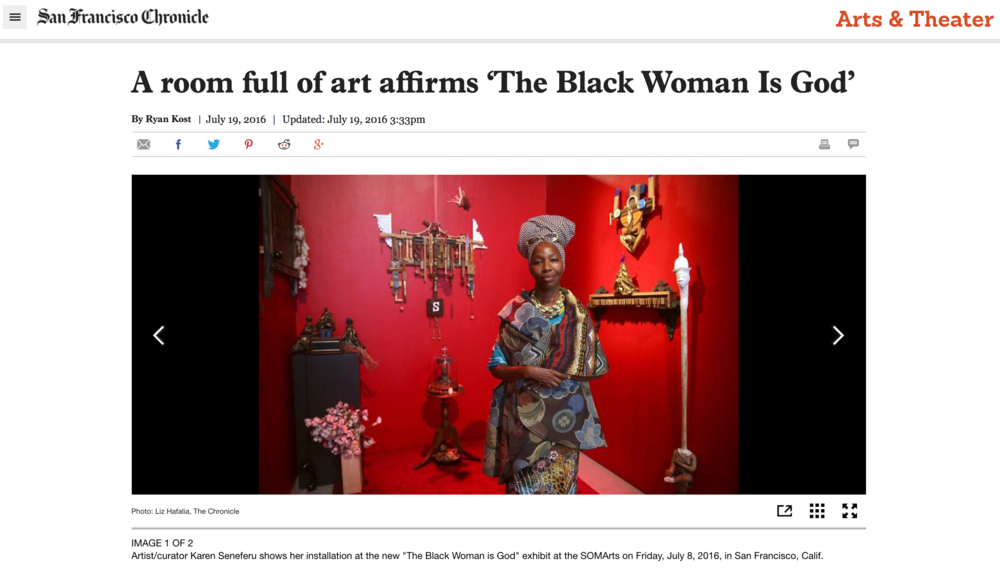 A room full of art affirms 'The Black Woman Is God'