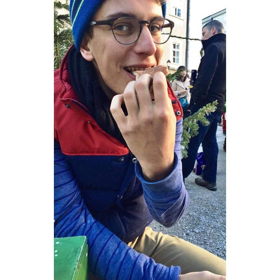 Eating Austrian fried donut tubes at the Christkindlmarkt in Salzburg. Watching what you eat is for roadies.